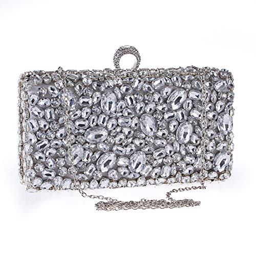 bandoulière Silver de Sac Color soirée à Embrayage Sac Sac KERVINZHANG Silver Main Diamant à Acrylique Banquet Femmes wAWZ18