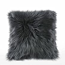 "Dreamaker Luxury Soft Faux Fur Fleece Cushion Cover Pillowcase Pillow Sham Grey 18""X18"" (1, Grey)"