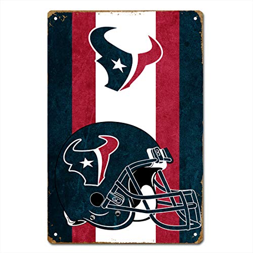 MamaTina Retro Vintage Houston Texans American Football Team Stripe Design Metal Tin Signs for Home Wall Decor Size 12x8 Inches