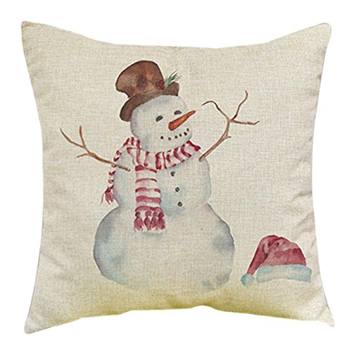 Gotd Light Color Christmas Decorations Snowman Decor Throw Pillow Case Sofa Waist Throw Cushion Cover Home Decor Square 45cm x 45cm 18inch x 18inch (F) Tin Father Christmas Decorations