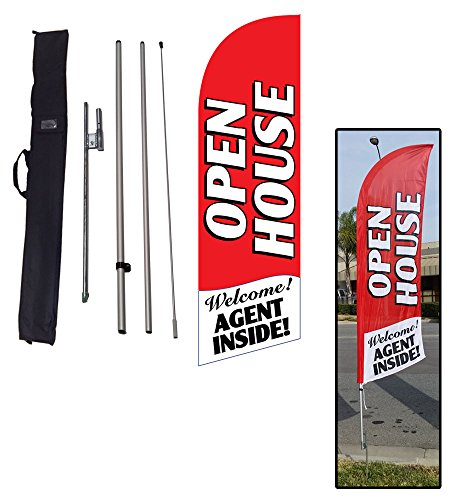 Red Open House Sign for Real Estate Feather Banner Flag Kit w/Ground Stake & Travel Bag | Open House Signs for Agents by Feather Flag Nation