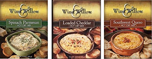 Wind & Willow Hot Dip Mix Variety Pack - Loaded Cheddar, Spinach Parmesan, and Southwest (Cheese Dip Mix)
