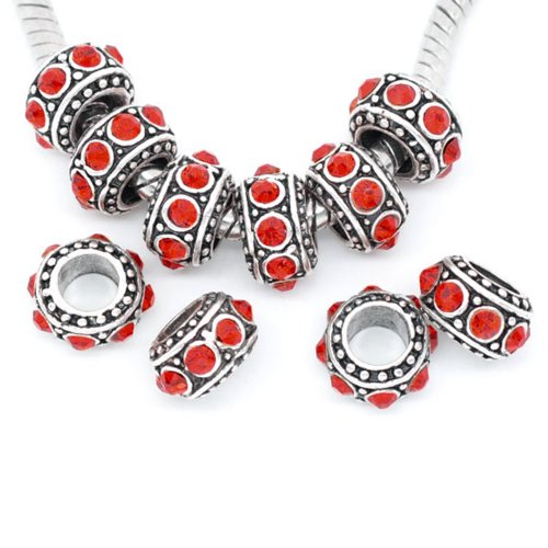Five (5) July Birthday With Red Rhinestones Charm Spacer Beads Compatible for European Snake Chain Charm Bracelets (Ruby Bracelet Slide)