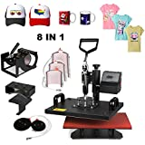 "Superland 8 in 1 Digital Heat Press 12 x 15 Inch Multifunctional Transfer Sublimation T-Shirt Hat Mug Heat Press Machine (8 in 1: 12""x15"")"
