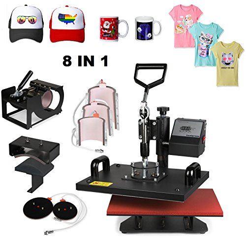 Superland 8 in 1 Digital Heat Press 12 x 15 Inch Multifunctional Transfer Sublimation T-Shirt Hat Mug Heat Press Machine (8 in 1: 12''x15'') by Superland