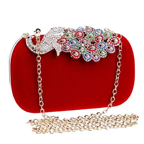 Da E Blu Rosa Cerimonia Donna Americana Camoscio Sera Rossa In Europea Pochette Con Tracolla Pavone Diamanti Borsa Moda B1ZwP1dfq