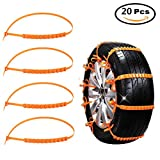 Snow Chains For Car, AERFAS Anti-skid Emergency Snow Tyre Chains Car Belting Straps 20PCS