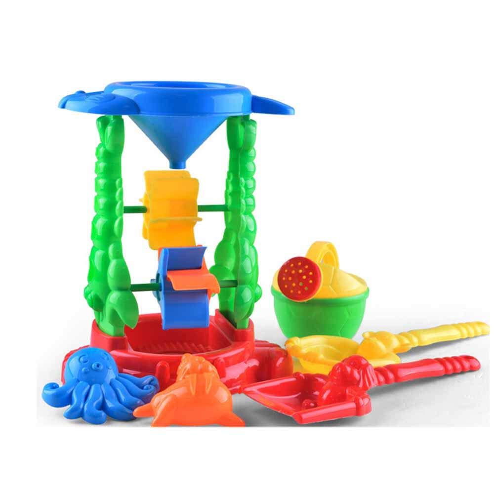 5 Piezas Rojas Juguete de Molde de Arena con Molino de Agua Pl/ástiuco Colorido Juego para Playa Pisicna de Ni/ños