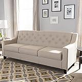 Baxton Studio Arcadia Upholstered Sofa in Light Beige