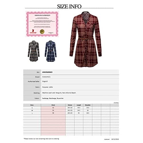 well-wreapped Awesome21 Women's Long Sleeve Button Down Plaid Dress  w/Attached Belt