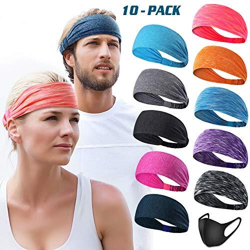 (DASUTA Set of 10 Women's Yoga Sport Athletic Headband for Running Sports Travel Fitness Elastic Wicking Workout Non Slip Lightweight Multi Headbands Headscarf fits All Men & Women (Style 1-10 Color))