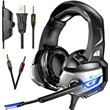 VersionTech K5 Stereo Gaming Headset for PS4 Xbox One Controller, PC, Noise Cancelling Over Ear Headphones with Mic and Volume Control, Glaring LED Lights and Bass Surround