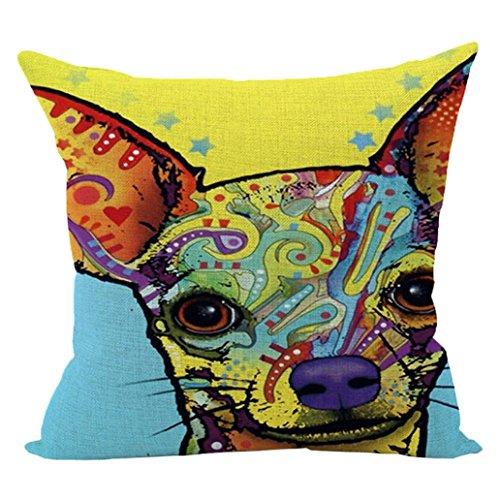 le Cotton Linen Canvas Decorative Square Throw Pillow Cover 18 x 18 (L) ()