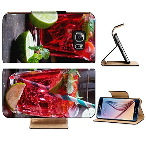 Ret Mint (Luxlady Premium Samsung Galaxy S6 Edge Flip Pu Leather Wallet Case IMAGE 38937336 Two glasses with retro coctail tubes and glass jug of strawberry)
