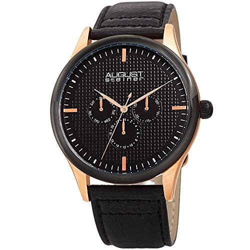 August Steiner Men's Quartz Multifunction Etched Rose-Tone/Black Leather Strap Watch - AS8243RGBK