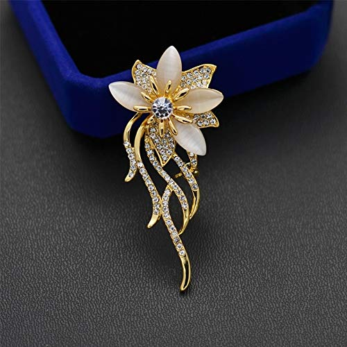Cameo Brooch 18k (POLPEP high-end Fashion Corsage Brooch Lapel pin Badge Suit Women Girls Cardigan Sweater Coat Shawl Buckle 18k Gold Plating Flowers Cat's Eye)