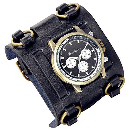 Lancardo 30M Water Resistant Retro Steam Punk Rock Black Big Wide Genuine Leather Bracelet Cuff Men Watch Japanese(black)