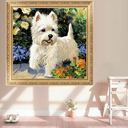 Misright DIY 5D Diamond Painting Cute Dog Embroidery Cross Stitch Crafts Home Decor