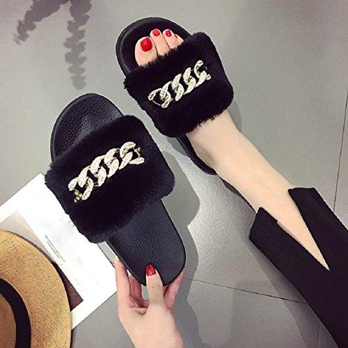 Sunfei Mujeres Ladies Slip On Sliders Suave Y Esponjosa De Piel Sintética Chanclas Flip Flop Sandal Black