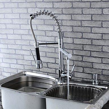 Modern Single Brass Spring Kitchen Faucet - Silver by Zheng