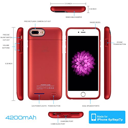 """iPhone 8 plus / 7 plus / 6 plus / 6S plus Battery Case, Ultra Thin Rechargeable iPhone 7plus / 6 plus / 6S plus Case Battery with 4200mAh Capacity from SUNWELL (5.5"""" Red) by SUNWELL (Image #5)"""