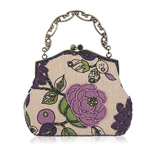 Wedding Evening Purse Red Embroidery Bag Style Vintage Dabixx Purple Handbag Clutch Beaded Party Hf1nq