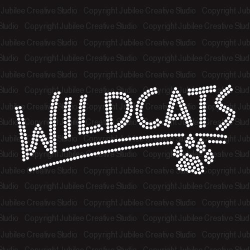 Wildcats with Paw Iron On Rhinestone Crystal T-shirt Transfer by Jubilee - Quality Crystal High Mascot