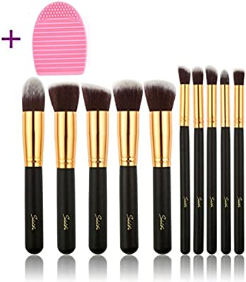 SOLOLIFE Makeup Brushes 10+1 Pieces Makeup Brush Set, 10 Pieces  Professional Foundation Blending Blush Eye Face Liquid Powder Cream  Cosmetics Brushes