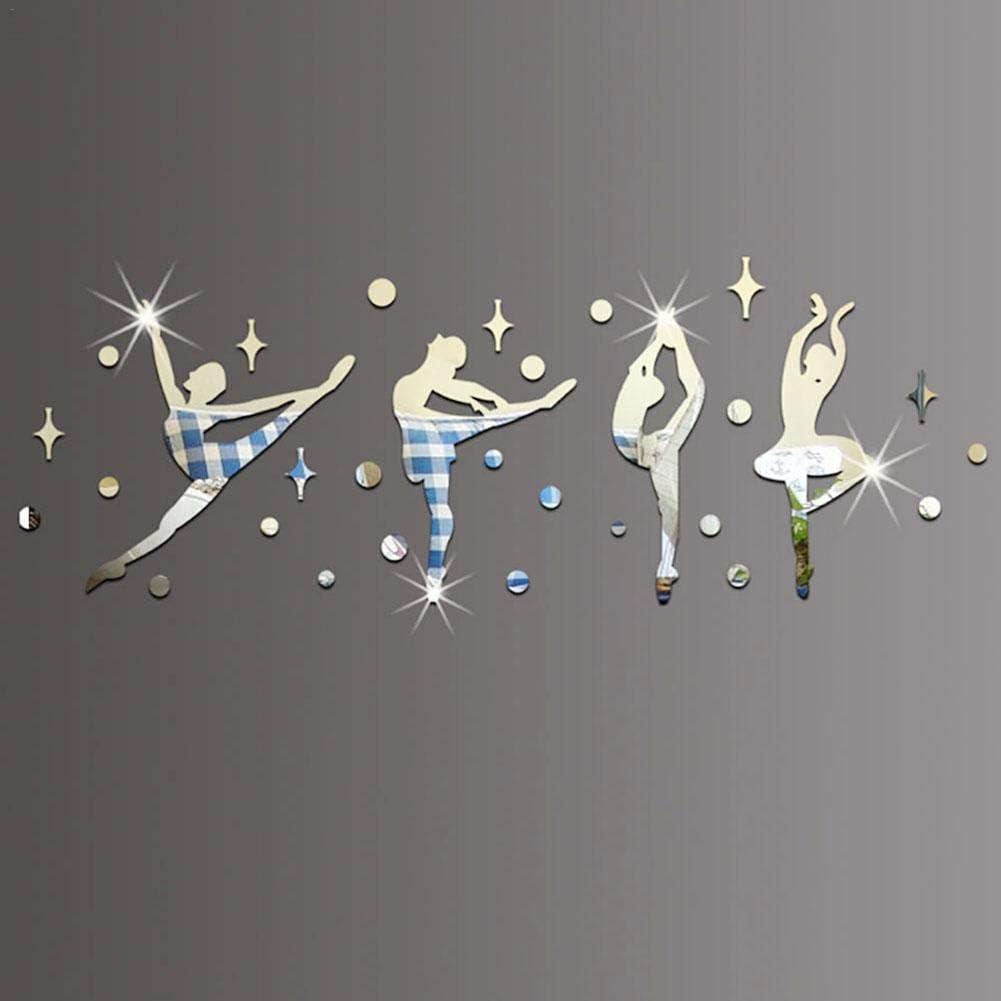 Createjia Autocollant Mural Ballet Danseurs Enfants Etude Autocollants Sans Odeur Pour La D/écoration De La Maison Miroir Autocollant Mural Mat/ériaux De Protection De Lenvironnement