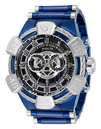 Reloj de cuarzo Invicta para hombre JT con acero inoxidable, correa de fibra de carbono, azul, 32 (modelo: 32833)