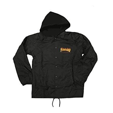 99b6bc6c8cc0 Image Unavailable. Image not available for. Color  Thrasher Flame Logo  Fleece Hood Coach Jacket