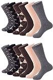 Mio Marino Mens Dress Socks - Argyle Cotton Crew Socks for men - Business casual dress socks - Style 3-12 Pack - Size 13-15