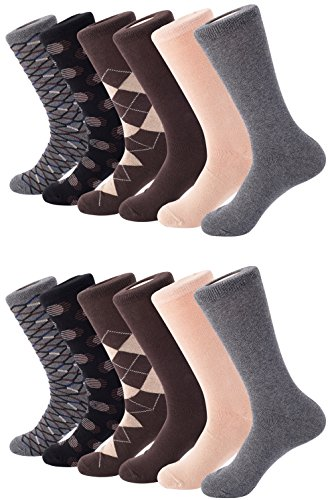 Mio Marino Mens Dress Socks - Argyle Cotton Crew Socks for men - Business casual dress socks - Style 3-12 Pack - Size 13-15 by Marino Avenue