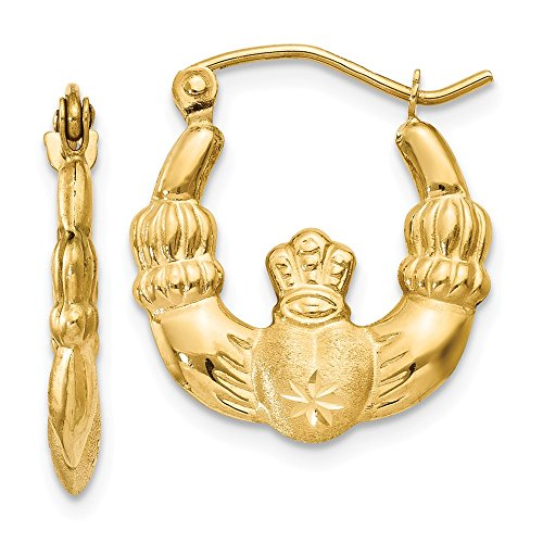 14k Yellow Gold Satin Claddagh Hoop Earrings for womens ()