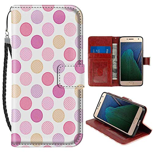 (Moto G5 Plus Wallet Case, Colorful Circles with Checked Striped and Dots Pattern Soft Colors Geometric Illustration Multicolor PU Leather Folio Case with Card Holder and ID Coin Slot)