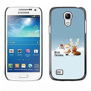 YOYO Slim PC / Aluminium Case Cover Armor Shell Portection //Christmas Holiday Cute Santa Claus & Deer 1187 //Samsung Galaxy S4 Mini