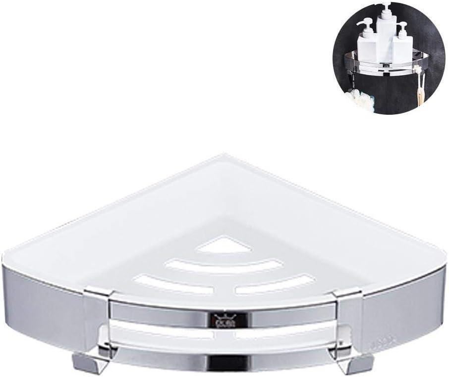 Estante esquinero de ducha Pawaca, para baño, baño, ducha, triángulo, para pared o ducha, con ganchos, sin necesidad de taladrar con pegamento autoadhesivo, estante esquinero para montar en la pared para baño