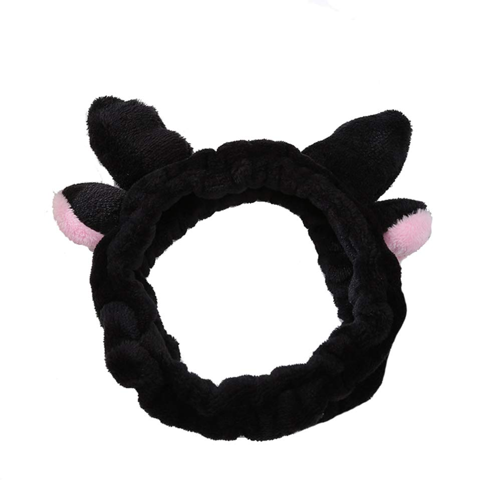 BOTURN Women Cute Hairband 3D Deer Lovely Flannelette Elastic Hair Band with Antlers Face and Makeup Accessories Headband