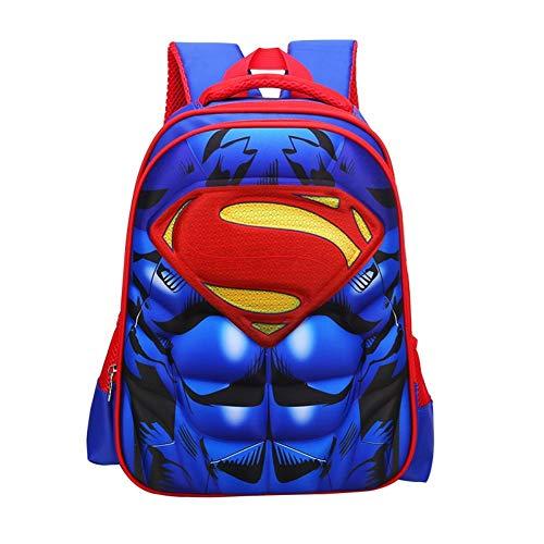 Waterproof Spiderman 3D Backpack School Backpack Comic Super Hero Design School Bag Student Bookbag Spiderman For Kids (Superman-S)