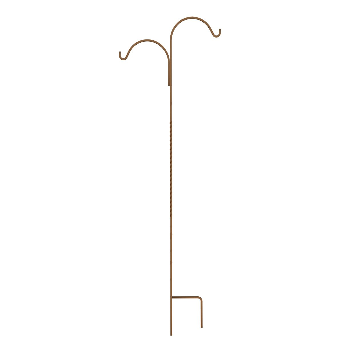 Panacea 89130 84'' Rustic Rust Double Offset Twisted Wire Shepherd Hook