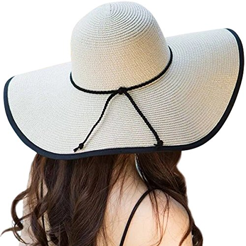 (Lanzom Womens Wide Brim Straw Hat Floppy Foldable Roll up Cap Beach Sun Hat UPF 50+ (Style B-Beige))