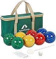 ApudArmis Bocce Balls Set, Outdoor Family Bocce Game for Backyard/Lawn/Beach - Set of 8 Poly-Resin Balls &