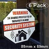 **Front Self Adhesive Vinyl** Outdoor/Indoor (6 Pack) 89mm X 89mm Home Business Security Burglar Alarm System Window Door Warning Alert Sticker Decals