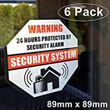 **Front Self Adhesive Vinyl** Outdoor/Indoor (6 Pack) 89mm X 89mm Home Business Security Burglar Alarm System Window Door Warning Alert Sticker Decals