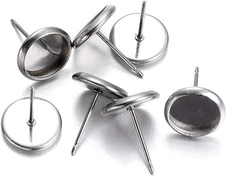 20pcs 304 Stainless Steel Cup Earring Posts Stud Findings with Dangle Hang Loop