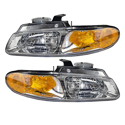 (Headlights Headlamps Driver and Passenger Replacements for Dodge Caravan Chrysler Town & Country Van without Quad Lamps 4857150AB)