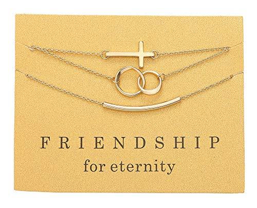 Friendship Of Bracelet Circle (Tilevera Friendship for Eternity Bracelets Set Gold Cross Circles Link Curved Tube Bracelet for Girls)