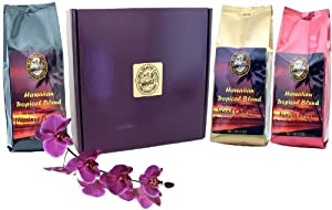 Flavored Hawaiian Coffee of the Month Club, Shipped Monthly for Six Months, First Shipment Is Gift Boxed, for Mothers Day, Fathers Day, Birthdays, Christmas and All Occasions, Ground Coffee