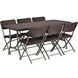 Flash Furniture 32.5''W x 67.5''L Brown Rattan Plastic Folding Table Set with 6 Chairs