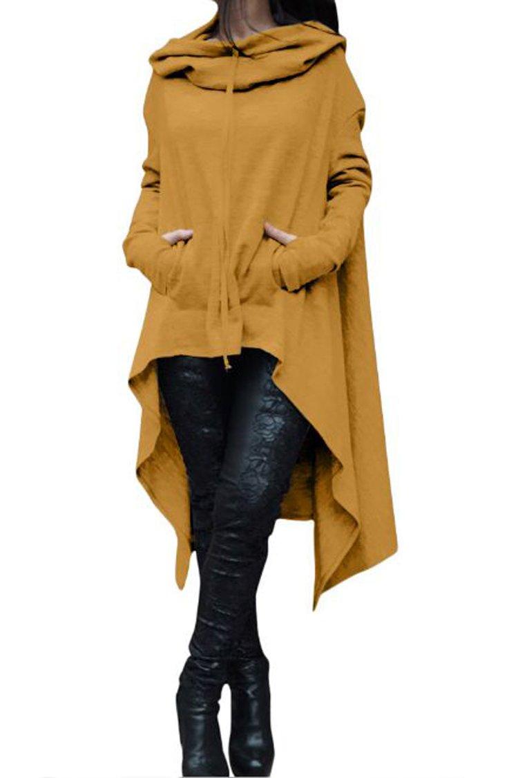 Herose Ladies Autumn Versatile Long Sleeve Sweatshirt Hoodie Tshirt Dress M Yellow